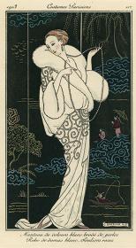 ジョルジュ・バルビエ『パリの服装 パール刺繍の白いベルベットのコート 白のダマスク織のドレス 淡いバラ色の靴』『ジュルナル・デ・ダーム・エ・デ・モード』1913年10月10日 神戸ファッション美術館蔵