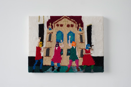 Kate Just, Feminist Fan #3 (Pussy Riot at Moscow's Cathedral of Christ the Savior, 2012), 2015,15 x 20 inches, wool and acrylic, canvas, timber