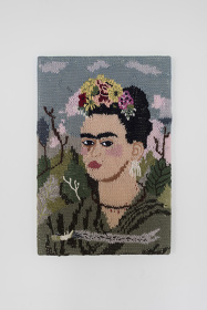 Kate Just, Feminist Fan #14 Frida Kahlo 12 x 18 inches, wool and acrylic, canvas, timber