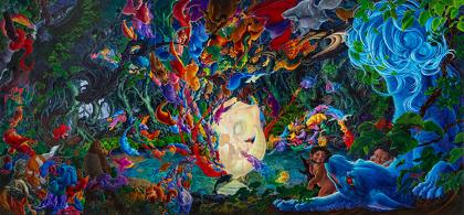 『胞衣清水』 2011-2013 パネルに綿布、アクリル、油彩 170 x 362 cm ©岡本瑛里 / Courtesy Mizuma Art Gallery