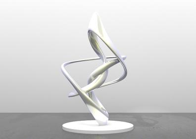 森万里子『Cycloid IV』2015年、アルミニウム、ラッカー&ペイント 220 x 139 x 127cm