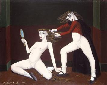『ヘアーカット』油彩 116.7×91cm 1975年
