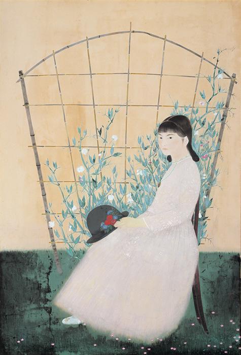 田中青坪『花による少女』昭和4(1929)年