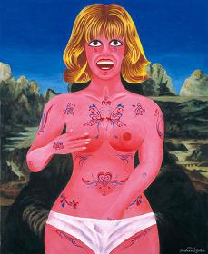 『モナリザとタトゥー』 2003年 キャンヴァスにアクリル 個人蔵(横尾忠則現代美術館寄託)