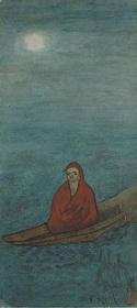 夏目漱石画「達磨渡航図」1913(大正2)水彩 神奈川近代文学館蔵