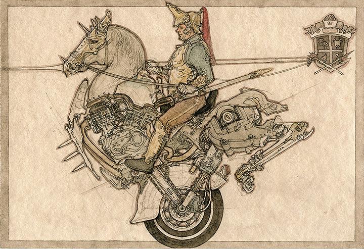 『日清日露戦役擬畫』より『フランス重騎兵』2002 紙に鉛筆、ペン、水彩 10×14.8cm 撮影:宮島径 ©YAMAGUCHI Akira, Courtesy Mizuma Art Gallery
