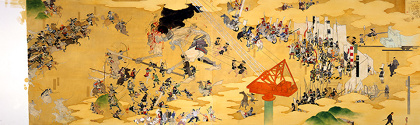 『當卋おばか合戦』1999 カンヴァスに油彩 97×324cm 所蔵:高橋コレクション 撮影:宮島径 ©YAMAGUCHI Akira, Courtesy Mizuma Art Gallery