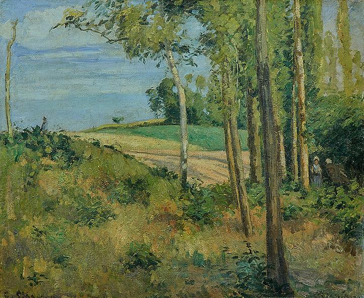 カミーユ・ピサロ『マトゥランの丘にて、ポントワーズ』 1874年 油彩、キャンヴァス 45×65㎝ 個人蔵Collectionprivée