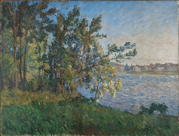 クロード・モネ『ヴェトゥイユの河岸からの眺め、ラヴァクール(夕暮れの効果)』1880年頃 120×155cm個人蔵 Collectionprivée
