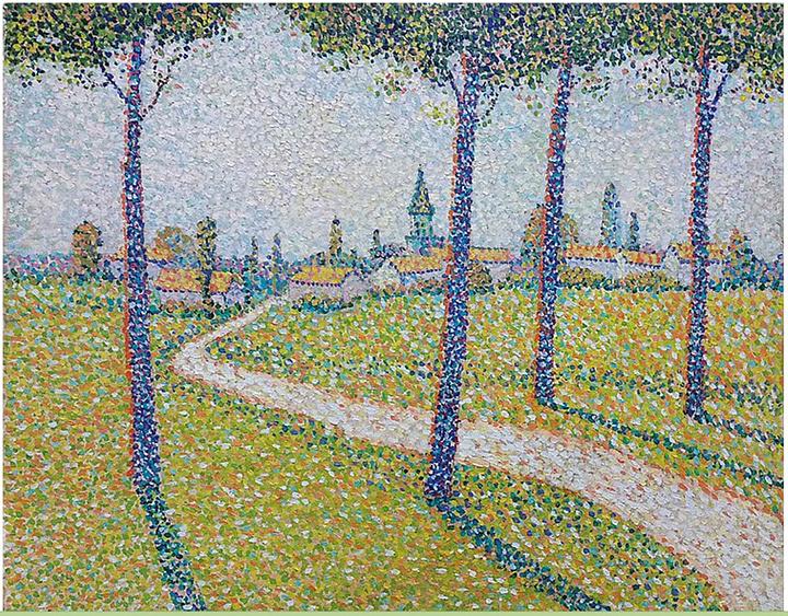 レオ・ゴーソン『樹木の向こうの村』1890年 46×55cm個人蔵 Collectionprivée