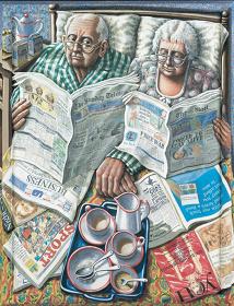 P.J.クルック『ベッドでの朝食』1995年、アクリル/カンヴァス・木製フレーム、132×102cm、公益財団法人諸橋近代美術館蔵 ©P.J.Crook 2016