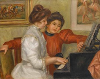 『ピアノを弾くイヴォンヌとクリスティーヌ・ルロル』 1897-1898年頃 油彩/カンヴァス オランジュリー美術館、ジャン・ヴァルテル&ポール・ギヨーム・コレクション © RMN-Grand Palais (musée de l'Orangerie) / Franck Raux / distributed by AMF