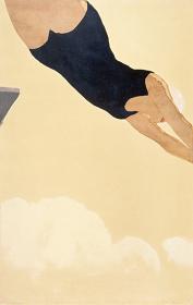 恩地孝四郎『ダイビング』 1933 木版、紙 横浜美術館(北岡文雄氏寄贈)※5月22日までの展示