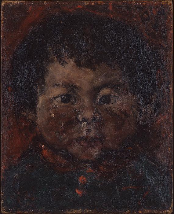 麻生三郎『子供』 1945年 個人蔵(東京国立近代美術館寄託) 油彩・キャンバス  27.5×22.0cm