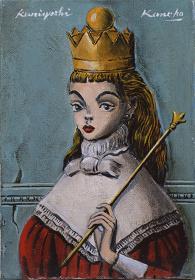 金子國義『王女に扮するアリス Alice made up as the queen』oil on canvas、227×116mm、2014
