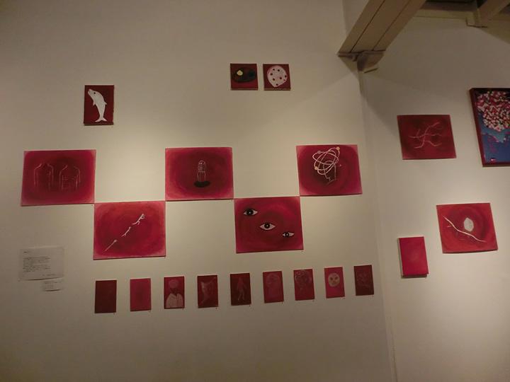 辛酸なめ子作品 『瞑想画』 n次元展 ギャラリーテトカにて 2015年