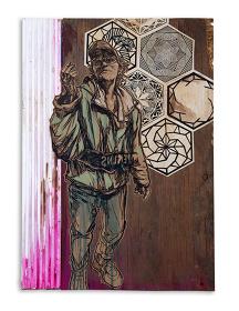 SWOON『Katherine』 2016 スクリーンプリント・アクリル・紙・木 61x43.2x2.2cm