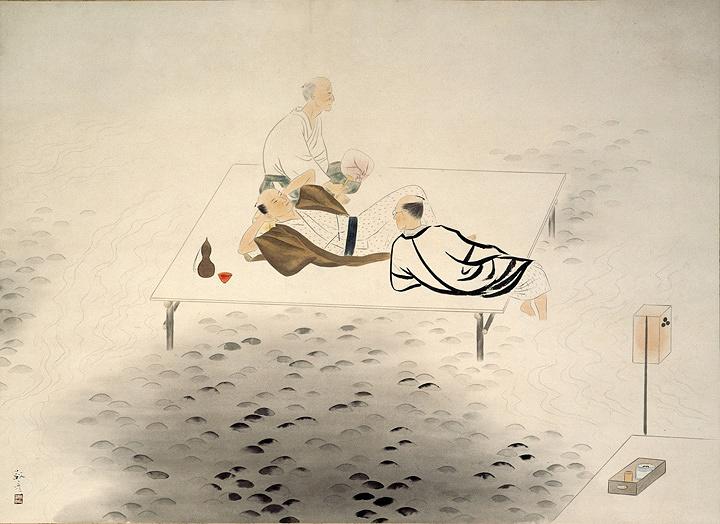 安田靫彦『鴨川夜情』昭和9(1934)年頃 伊豆市所蔵