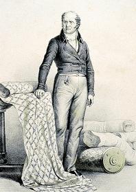 C.ブール『布地に囲まれたクリストフ=フィリップ・オーベルカンプ』 1833年以後 リトグラフ トワル・ド・ジュイ美術館蔵 ©Courtesy Musée de la Toile de Jouy
