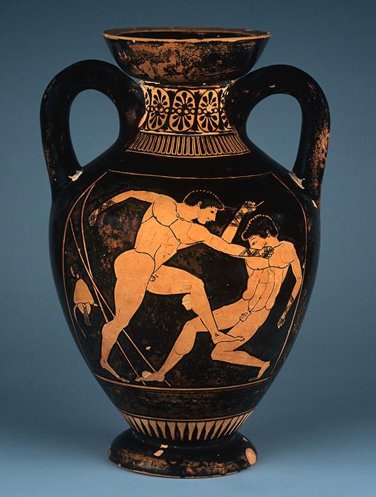 『赤像式パナテナイア 小型アンフォラ  ボクシング』 前500年頃 アテネ国立考古学博物館蔵 ©The Hellenic Ministry of Culture and Sports-Archaeological Receipts Fund