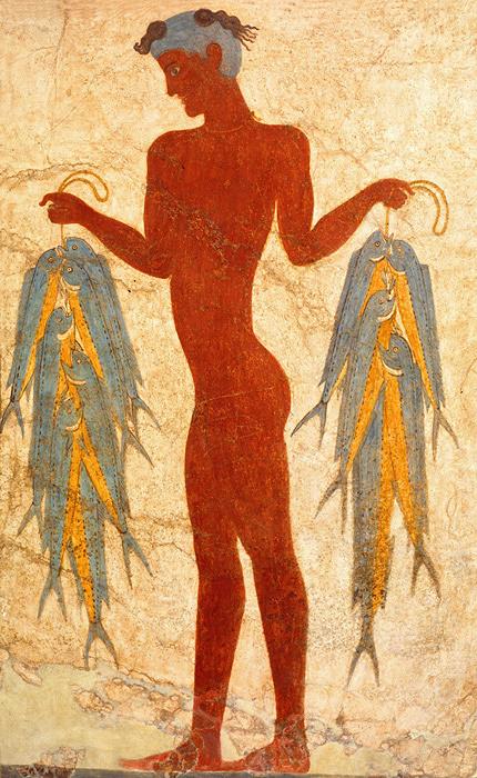 『漁夫のフレスコ画』 前17世紀テラ先史博物館蔵 ©The Hellenic Ministry of Culture and Sports-Archaeological Receipts Fund