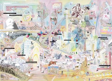 KOURYOU『諸芸術のタテモノたちが佇む聖なる廃墟』297mm×420mm、板に水彩、ペン、紙、コラージュ、2016年