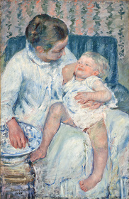 『眠たい子どもを沐浴させる母親』1880年、油彩・カンヴァス、ロサンゼルス郡立美術館蔵 ©2015 Museum Associates / LACMA