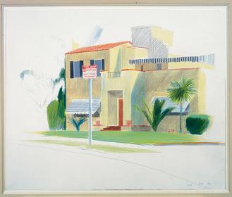 デイヴィッド・ホックニー『シャトー・マーモントの裏手の家』1976年、黒鉛、クレヨン、紙 ©David Hockney UBS Art Collection