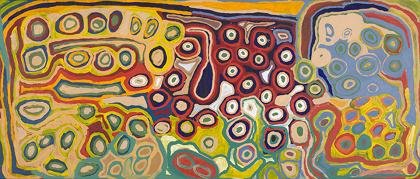 『クンクン』Kunkun 2008年 ノラ・ナンガパ、ノラ・ウォムピ、ブガイ・ワイロウタ、クムパヤ・ギルガバ(マトゥ ミリイ・アーティスト) オーストラリア国立博物館蔵