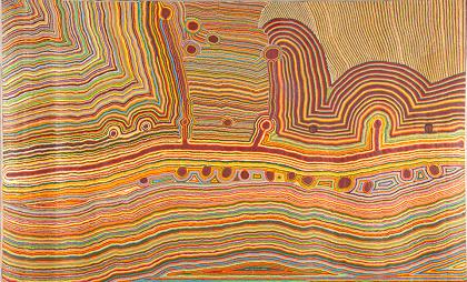 『マトゥミリィ・ノーラ』Martumili Ngurra 2009年 クームパヤ・ギルガバ、ジャーカイウー・ビルジャブ、ナーマイユー・ビードゥー、テルマ・ジャドサン、ノーラ・テイラー、ジェーン・ギルガバ(マトゥミリィ・アーティスト) オーストラリア国立博物館蔵