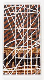 大巻伸嗣『Grand Voyage : Passage and Time 5』h1800×w900 mm、修正液、水晶粉、布、パネル、2014