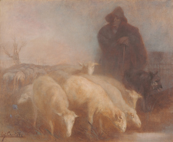 ウジェーヌ・カリエール『羊飼いと羊の群れ』1877~80年頃 油彩、キャンバス 59.6×73.3cm 新潟市美術館