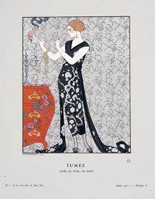 ジョルジュ・バルビエ『煙:ベールのイブニング・ドレス』 『ガゼット・デュ・ボン・トン』1921年、No.1 Pl.8. 島根県立石見美術館蔵