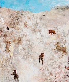 坂本夏子『夏(犬と坂道)』 2014年 194x162cm キャンバスに油彩 ©Natsuko Sakamoto, Courtesy of ARATANIURANO Photo by Ichiro Mishima