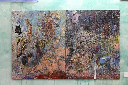 坂本夏子&梅津庸一『開戦』 2014-2015年116.7x182.2 cm(2 pieces)キャンバスに油彩 ©Natsuko Sakamoto & Yoichi Umetsu, Courtesy of ARATANIURANO Photo by Fuyumi Murata