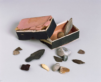 「柳田」と書かれた名刺箱資料に入っていた石器や化石(国立歴史民俗博物館蔵)