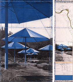 『アンブレラ 日本とアメリカ合衆国のジョイント・プロジェクト』1990年 2枚組のドローイング ©Christo, 1990 Photo: Wolfgang Volz