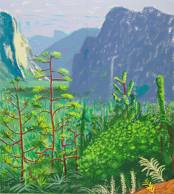 "David Hockney  ""Yosemite I, October 16th 2011""  2011 iPad drawing printed on four sheets of paper (99 x 89 cm each), mounted on four sheets of Dibond Edition of 12  197 x 177 cm overall ©David Hockney  Photo: Richard Schmidt  Courtesy of Nishimura Gallery"