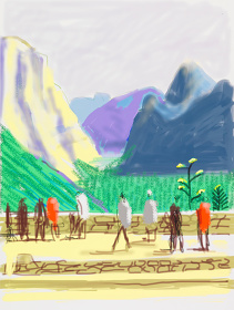 "David Hockney  ""Untitled No. 15"" from ""The Yosemite Suite""  2010 iPad drawing printed on paper  Edition of 25  94 x 71 cm ©David Hockney  Photo: Richard Schmidt  Courtesy of Nishimura Gallery"