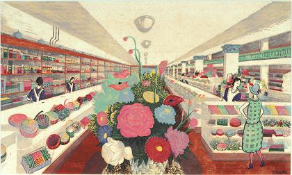 前田藤四郎『デパート装飾』1930年代 リノカット 紙 大阪新美術館建設準備室蔵