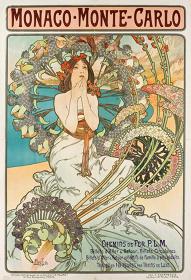 アルフォンス・ミュシャ『モナコ・モンテカルロ/P.L.M.鉄道』 1897年 三浦コレクション