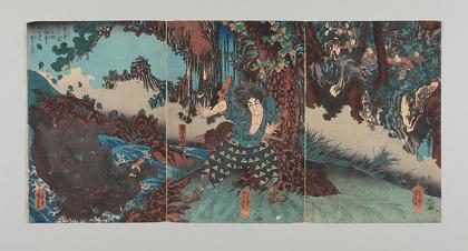 歌川国芳『稲葉山中におゐて荒猪を生捕たる強勇を大将の目にとまり臣下とす』 1847~1852年頃