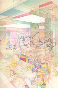 『室町バイブレーション』(2016年個展DMのための原画)2016 紙に鉛筆、ペン、水彩 28.8 x 19.2 cm ©YAMAGUCHI Akira, Courtesy Mizuma Art Gallery
