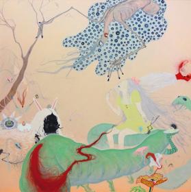 『夜行性の庭 VII』 2014, 162 x 162cm, oil, beeswax, bead, clock hand on canvas