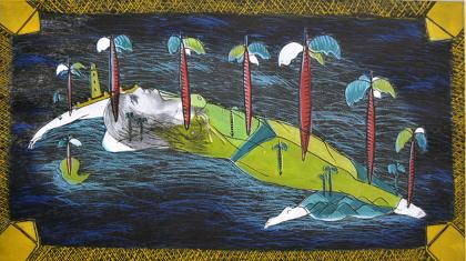 Sandra Ramos『あらゆるところの水は悪い環境』1993年 エッチング