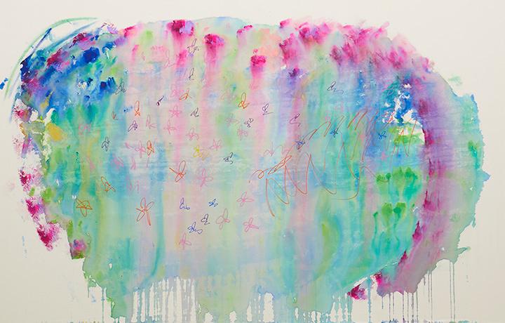 大宮エリー『お花の夢』2016年 acrylic on canvas 190.0×296cm photo by Kenji Takahashi ©Ellie Omiya, Courtesy of Tomio Koyama Gallery / Koyama Art Projects