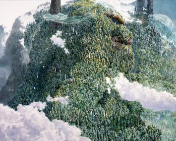 池田学『山と雲』2010 紙にペン、インク/pen, acrylic ink on paper, mounted on board 60×70cm 撮影:宮島径/Photo by MIYAJIMA Kei 個人蔵 ©IKEDA Manabu Courtesy Mizuma Art Gallery