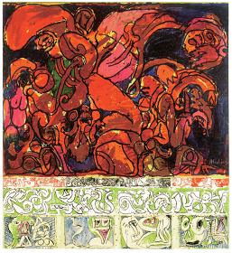 ピエール・アレシンスキー『写真に対抗して』1969 年 アクリル絵具、キャンバスで裏打ちした紙 ベルギーING コレクション ©Pierre Alechinsky, 2016