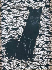 田口善国『漆透かし絵 犬』1985年 東京国立近代美術館蔵