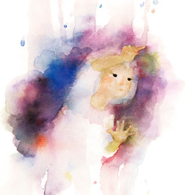 いわさきちひろ『窓ガラスに絵をかく少女』 『あめのひのおるすばん』(至光社)より 1968年